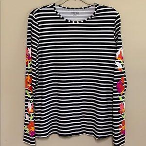 Lands End black stripe shirt with floral sleeves L
